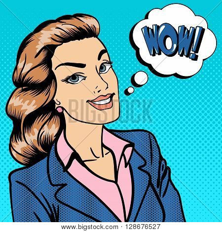 Happy Businesswoman. Surprised Woman Telling Wow. Pop Art Vector illustration