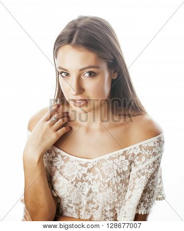 young beauty woman smiling dreaming isolated on white close up emotional adorable casual girl