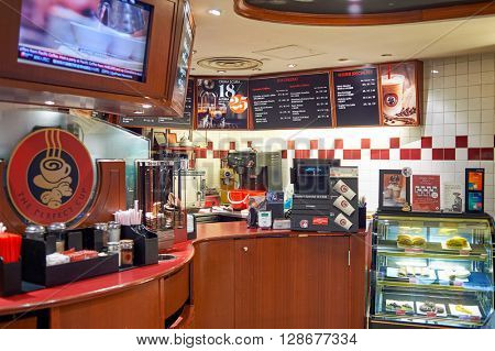 HONG KONG - JUNE 01, 2015: Pacific Coffee cafe interior. Pacific Coffee Company is a Pacific Northwest U.S.- style coffee shop group originating from Hong Kong.