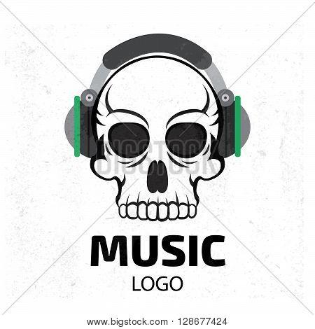 Music skull logo. Stock vector. Vector illustration.