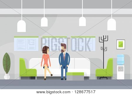 Business People On Sofa, Modern Office Waiting Room Interior Flat Design Vector Illustration
