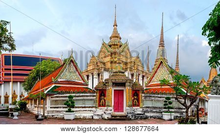 Panorama of Wat Pho Temple in Bangkok Thailand. Wat Pho known also as the Temple of the Reclining Buddha.