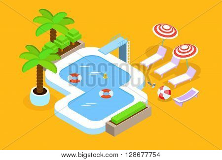 Swimming Pool Hotel Summer Vacation 3d Isometric Design Vector Illustration