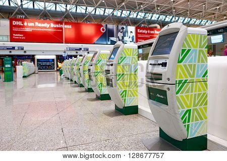ROME, ITALY - AUGUST 04, 2015: inside of Fiumicino Airport. Fiumicino - Leonardo da Vinci International Airport is a major international airport in Rome, Italy