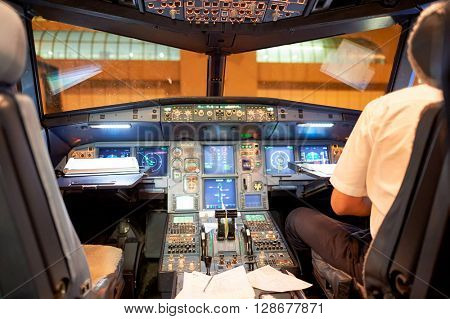 ROME, ITALY - AUGUST 04, 2015: inside of Airbus A320 cockpit. The Airbus A320 family consists of short- to medium-range, narrow-body, commercial passenger twin-engine jet airliners.