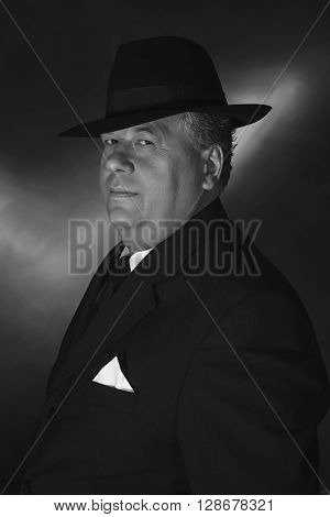 Retro 1930S Gangster Wearing Hat. Classic Black Adn White Portrait.