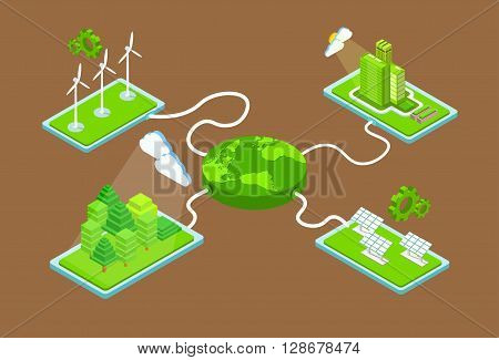 Green Planet Charge Fromm Station Solar Energy Panel Wind Turbine Tower Recycle Technology Battery 3d Isometric Vector Illustration