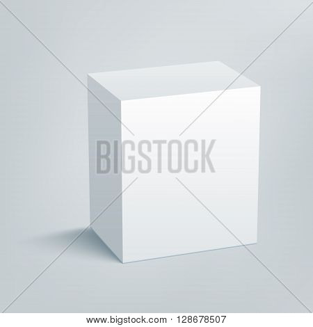 Blank isolated box mockup with shadow. Packaging 3d design template. Vector illustration scene 1.