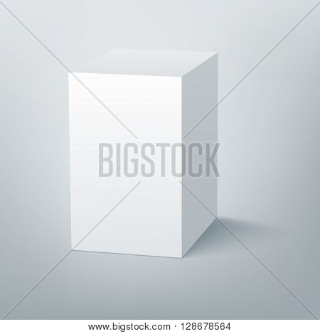 Blank isolated box mockup with shadow. Packaging 3d design template. Vector illustration scene 3.