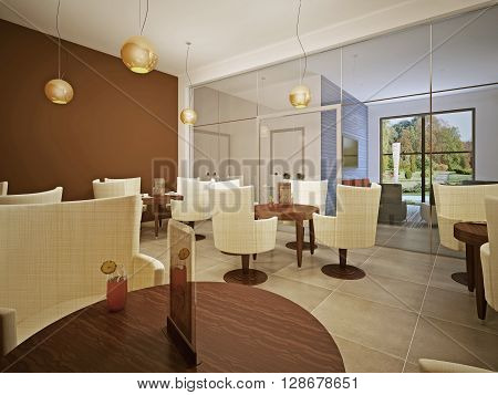 School cafeteria. High school canteen. Lunch room in beige and brown colors. White modern cloth chairs. 3D render