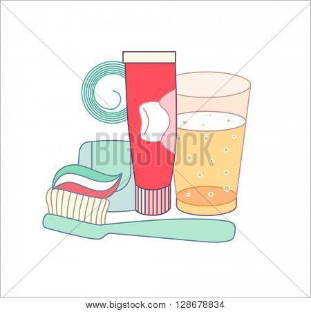 The set of hygiene grouped elements on white background, flat cartoon vector illustration