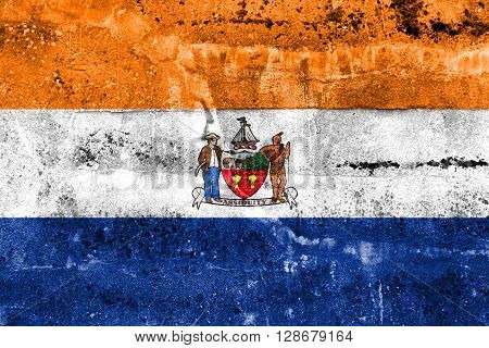 Flag Of Albany, New York, Painted On Dirty Wall. Vintage And Old Look.