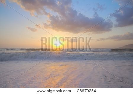Sunrise On Mediterranean On Beach