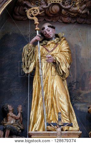 KOTARI, CROATIA - SEPTEMBER 16: Saint Leonard of Noblac, main altar in the church of Saint Leonard of Noblac in Kotari, Croatia on September 16, 2015.