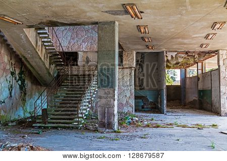 Interior of abandoned dilapidated shopping center