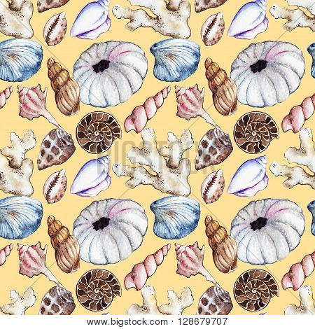 Watercolor sea ocean seashell clam coral ammonit urchin seamless pattern
