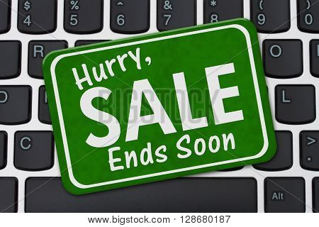 Hurry Sale Ends Soon Sign A green sign with text Hurry Sale Ends Soon on a keyboard, 3D Illustration