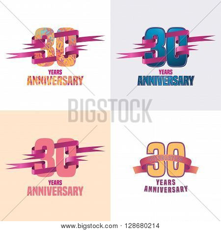 30 years anniversary vector icon set. 30th celebration design collection