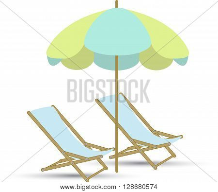 chairs and parasol on a white background