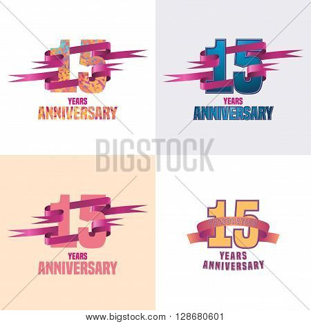 15 years anniversary vector icon set. 15th celebration design collection