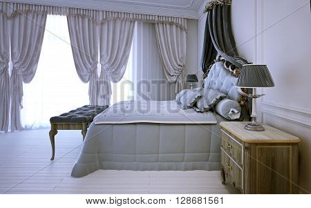 Empty royal bedroom in neoclassic design. 3D render