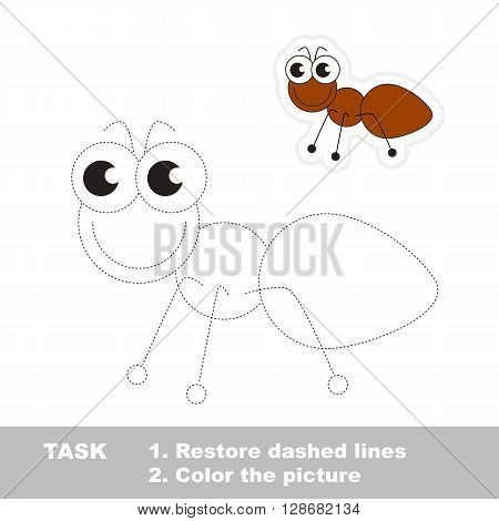 Little ant in vector to be traced. Restore dashed line and color the picture. Trace game for children.