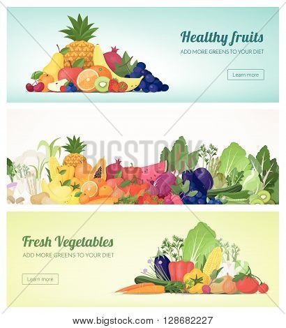 Fruit and vegetables banner set and rainbow composition healthy food and nutrition concept
