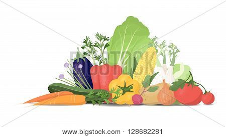 Freshly harvested vegetables on white background healthy eating and horticulture concept