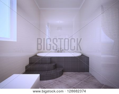 View of jacuzzi in bathroom with glossy walls pale peach color. Using of dark tile in interior. 3D render
