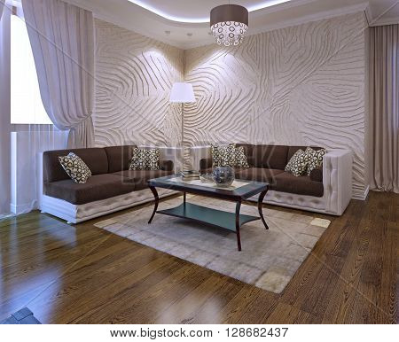 Living Room Ideas With Leather Sofa in art deco style. 3D render