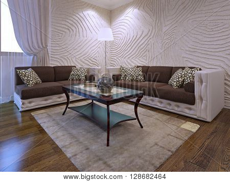 Elegant living room furniture set. Two brown sofas with leather parts. Mahogany wood table. 3d render