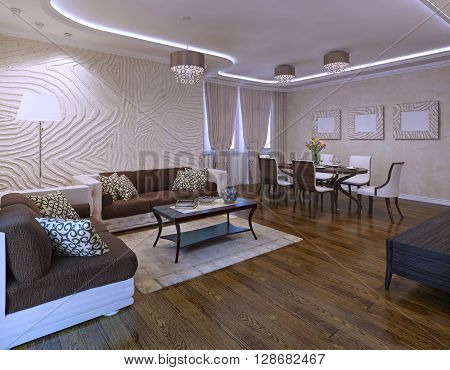 Idea of avant garde living room with ikea furniture set. 3D render