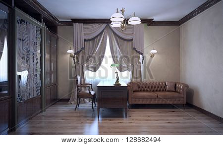 Luxury english work room with bookcase. Leather furniture in modern interior. 3D render