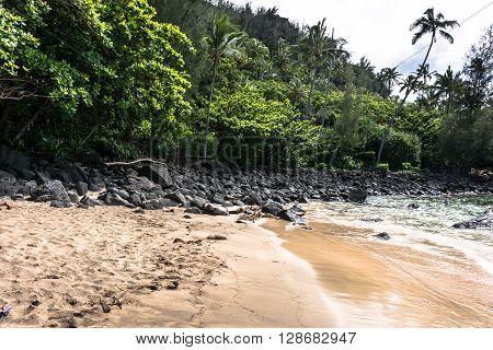 View of Kee Beach in North Kauai, Hawaii