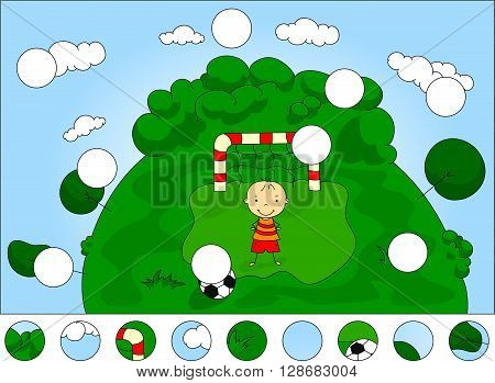 Goalkeeper Boy Standing At The Gate With Ball. Complete The Puzzle And Find The Missing Parts Of The