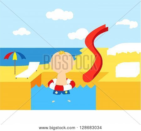 Boy With A Rubber Ring In The Water Park Swimming Pool. Complete The Puzzle And Find The Missing Par