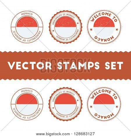 Monegasque Flag Rubber Stamps Set. National Flags Grunge Stamps. Country Round Badges Collection.