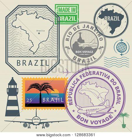 Travel stamps set Brazil theme, vector illustration