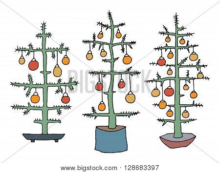 Christmas tree catroon set. Hand drawn illustration