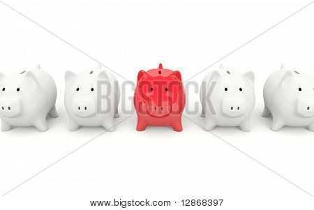 Red piggy bank