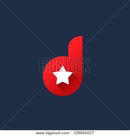 Letter D Star Logo Icon Design Template Elements