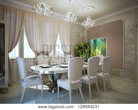 Dining in art deco trend. Molding on the walls in a modern interior. Served oval dining table for eight person. 3D render