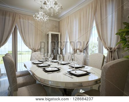 Light beige colors in modern interior of dining. Ceramic table with black and white plates vine glass fabric upholstery clairs. 3D render