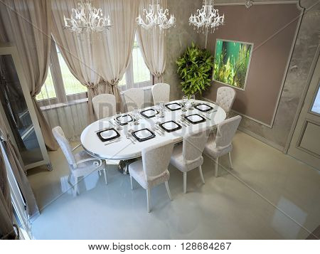 Elegant dining with large served table. Dining in daylight with included light. Polishtd concrete flooring cream and beige theme. 3D render