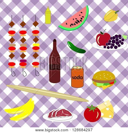 picnic icon set with four components of a picnic: food drinks utensils and grill nature placed on a tablecloth for a picnic
