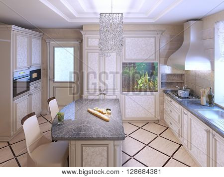 Art deco kitchen with painted furniture. Polished dark stone countertops Built-in Aquarium in interior. 3D render