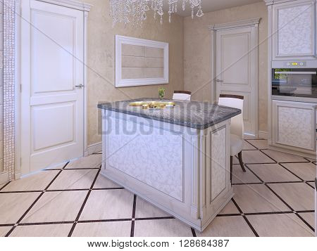 Idea of avantgarde kitchen in cream colors. Patterned frontal panel in kitchen cabinets. 3D render