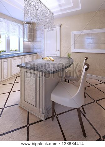 Bar chairs by art deco kitchen island. Fabric chair with dark brown wooden carcas. 3D render