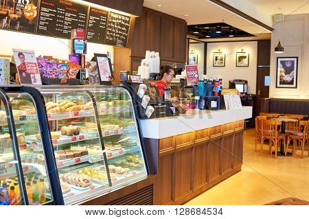 HONG KONG - JUNE 04, 2015: Pacific Coffee cafe interior. Pacific Coffee Company is a Pacific Northwest U.S.- style coffee shop group originating from Hong Kong