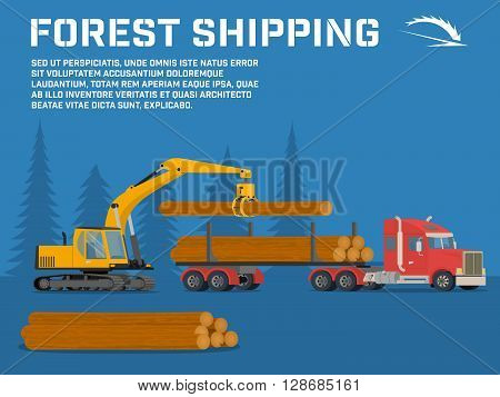 Shipping timber. Loading felled trees in the timber crane on the basis of an excavator.